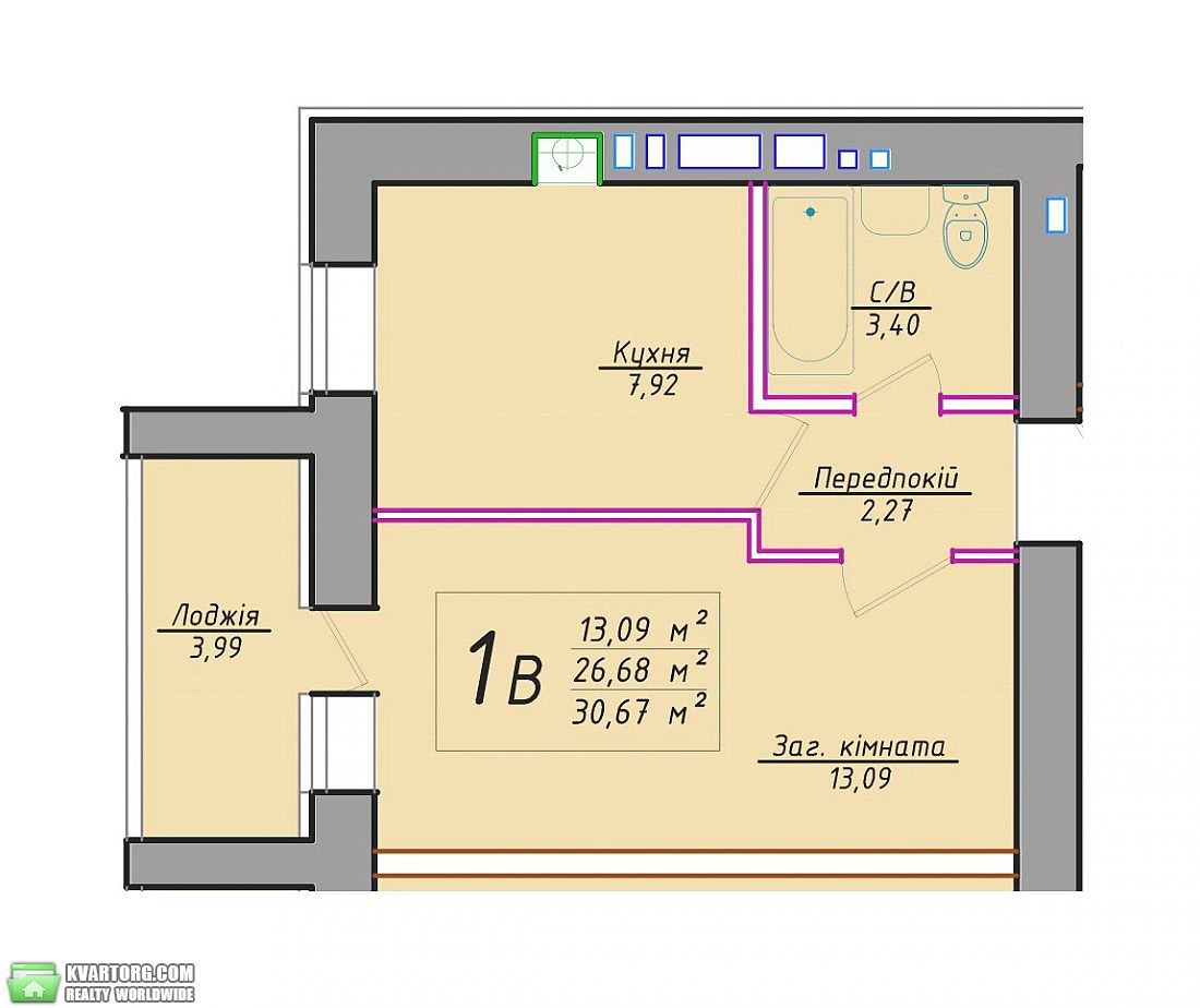 продам 1-комнатную квартиру. Буча, ул.Кожедуба 3. Цена: 14018$  (ID 1798117) - Фото 2