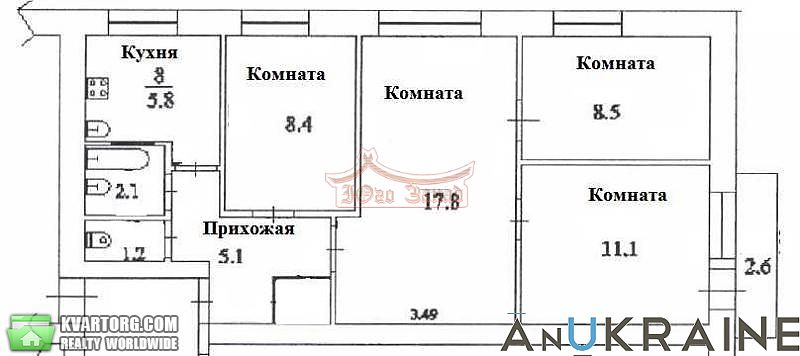 продам 4-комнатную квартиру. Одесса, ул.И.Рабина . Цена: 40000$  (ID 2189460) - Фото 3