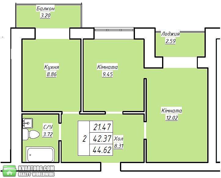 продам 1-комнатную квартиру. Вишневое, ул. Черновола 2. Цена: 12135$  (ID 1794459) - Фото 4