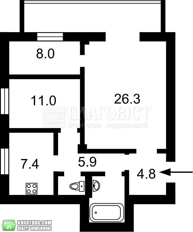продам 3-комнатную квартиру. Киев, ул. Крещатик 25. Цена: 180000$  (ID 2027704) - Фото 3