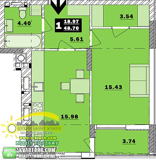 продам 1-комнатную квартиру Обухов, ул.Обуховский ключ 9 - Фото 2