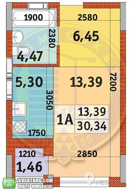 продам 1-комнатную квартиру Киев, ул.квитки цысик 34 - Фото 2