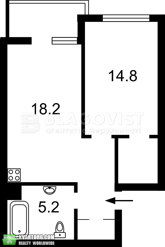 продам 1-комнатную квартиру. Киев, ул. Кудри 7. Цена: 142000$  (ID 2195154) - Фото 2