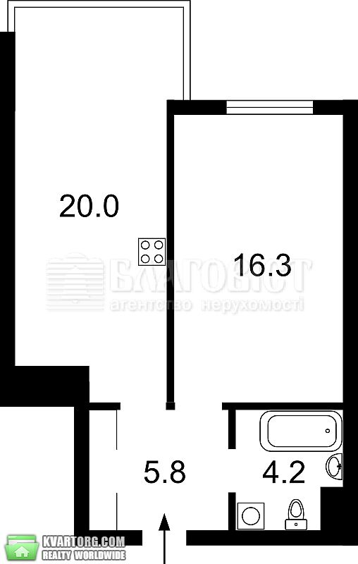 продам 1-комнатную квартиру. Киев, ул. Петрицкого 21а. Цена: 69000$  (ID 2000983) - Фото 5