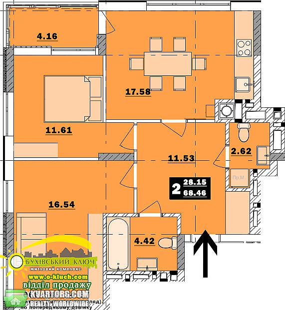 продам 2-комнатную квартиру Обухов, ул.Обуховский ключ 7 - Фото 9
