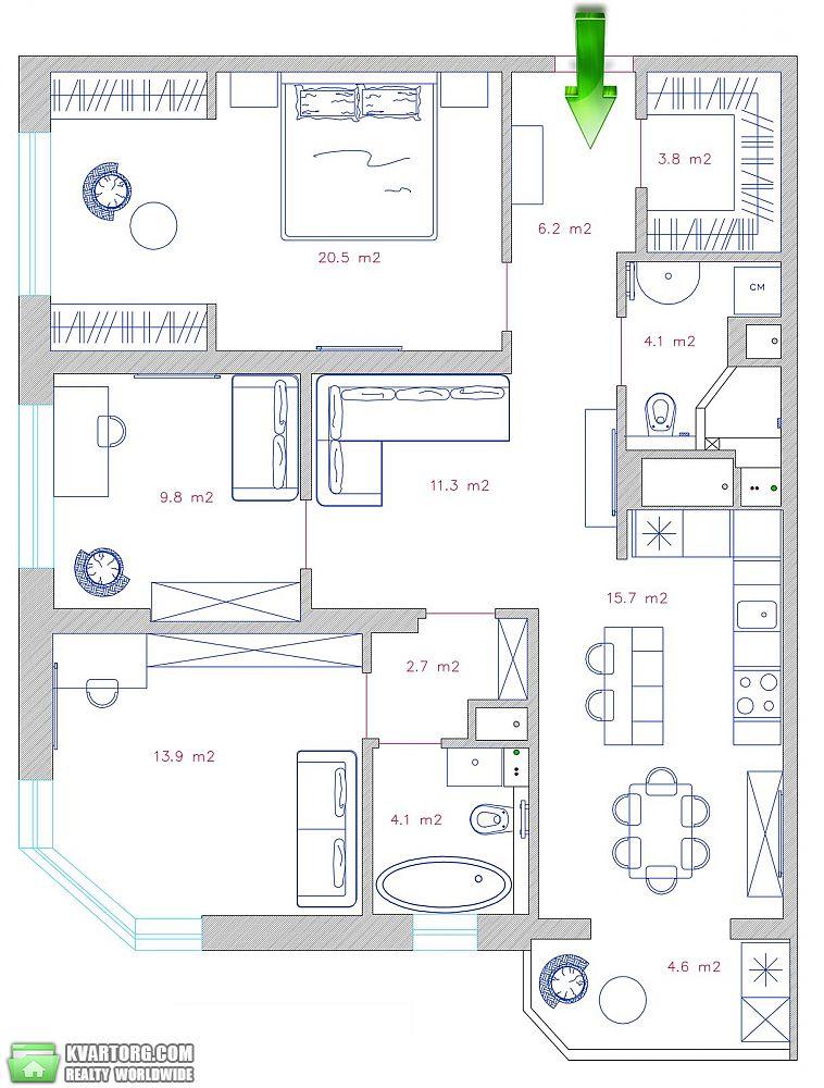 продам 3-комнатную квартиру. Киев, ул. Малиновского 4в. Цена: 175000$  (ID 1935718) - Фото 9